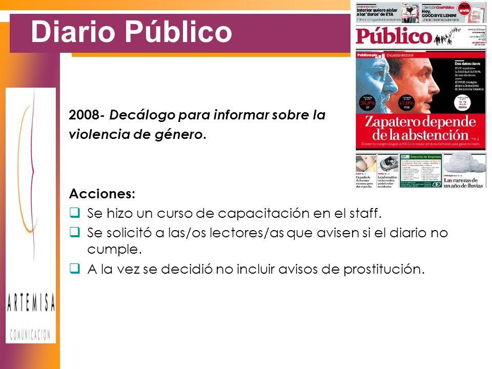Diario Público 2008- Decálogo para informar sobre la violencia de género.