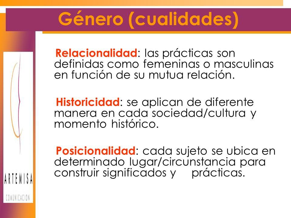 Género (cualidades) Relacionalidad : las prácticas son definidas como femeninas o masculinas en función de su mutua relación.