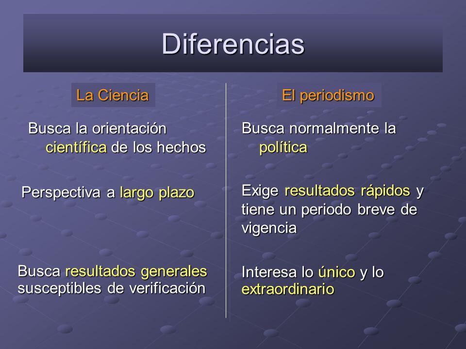 Diferencias Busca la orientación científica de los hechos Busca normalmente la política La Ciencia El periodismo Busca resultados generales susceptibl