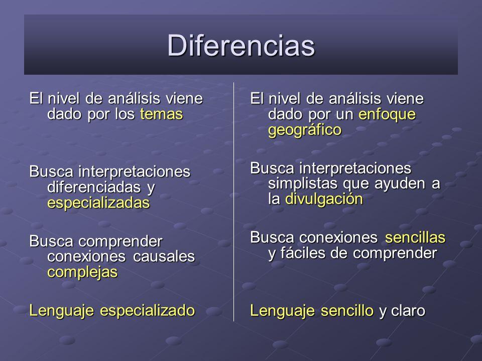 Diferencias El nivel de análisis viene dado por los temas Busca interpretaciones diferenciadas y especializadas Busca comprender conexiones causales c
