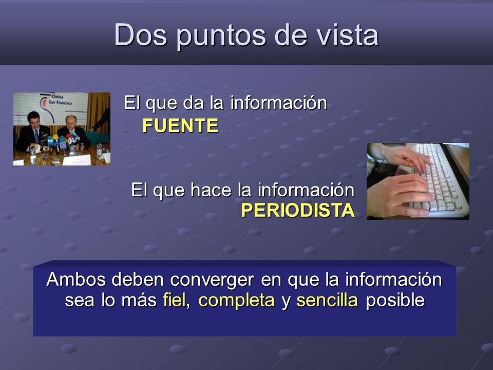 Dos puntos de vista El que da la información FUENTE Ambos deben converger en que la información sea lo más fiel, completa y sencilla posible El que ha