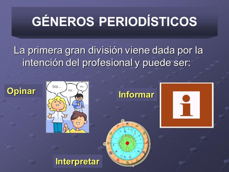 GÉNEROS PERIODÍSTICOS La primera gran división viene dada por la intención del profesional y puede ser: Opinar Informar Interpretar