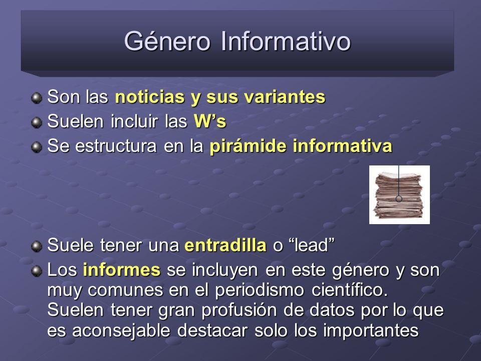 Género Informativo Son las noticias y sus variantes Suelen incluir las Ws Se estructura en la pirámide informativa Suele tener una entradilla o lead L
