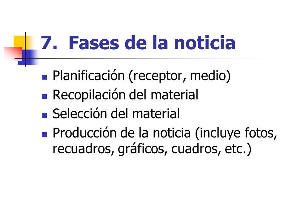 7. Fases de la noticia Planificación (receptor, medio) Recopilación del material Selección del material Producción de la noticia (incluye fotos, recua