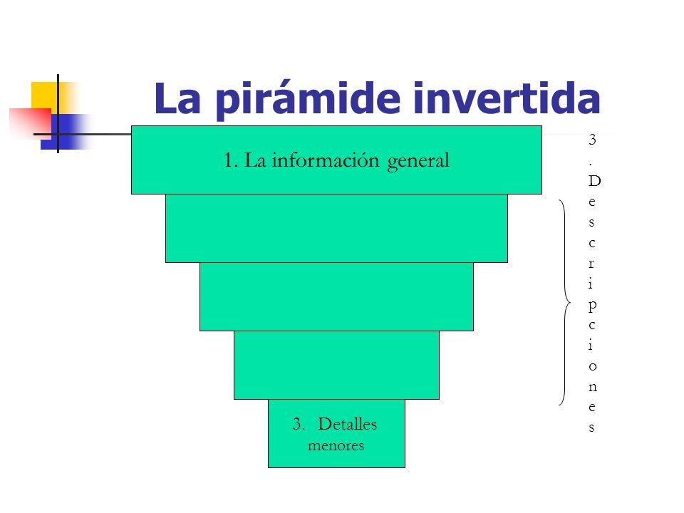 La pirámide invertida 1. La información general 3.Detalles menores 3.Descripciones3.Descripciones