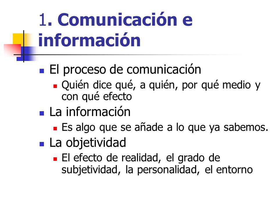 1. Comunicación e información El proceso de comunicación Quién dice qué, a quién, por qué medio y con qué efecto La información Es algo que se añade a