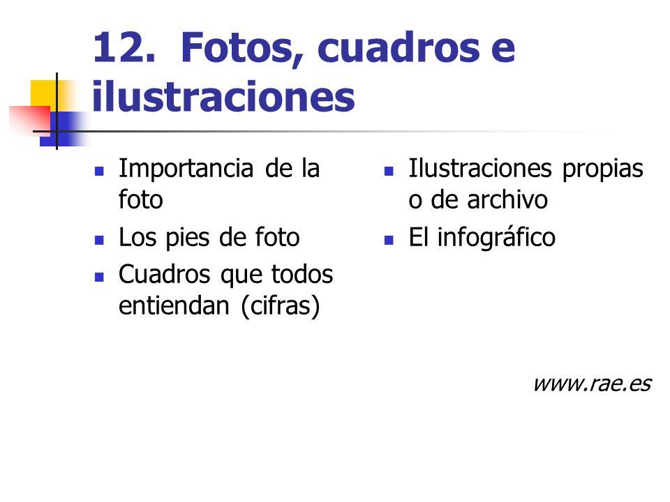 12. Fotos, cuadros e ilustraciones Importancia de la foto Los pies de foto Cuadros que todos entiendan (cifras) Ilustraciones propias o de archivo El