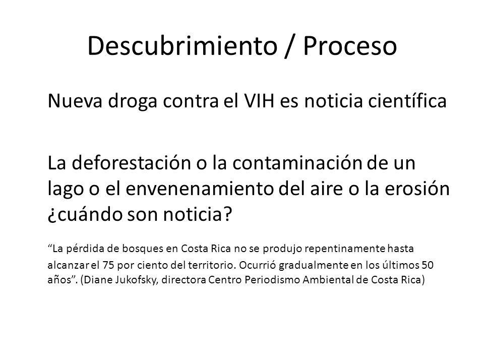 Descubrimiento / Proceso Nueva droga contra el VIH es noticia científica La deforestación o la contaminación de un lago o el envenenamiento del aire o la erosión ¿cuándo son noticia.