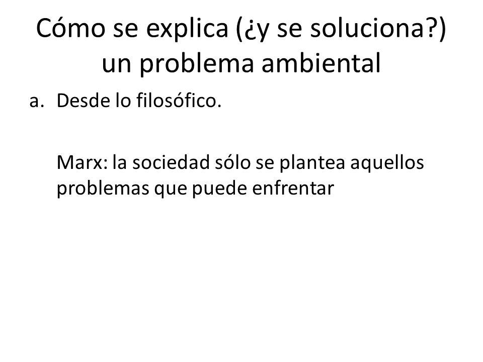 Cómo se explica (¿y se soluciona?) un problema ambiental a.Desde lo filosófico.