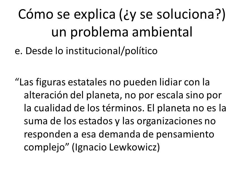 Cómo se explica (¿y se soluciona?) un problema ambiental e.
