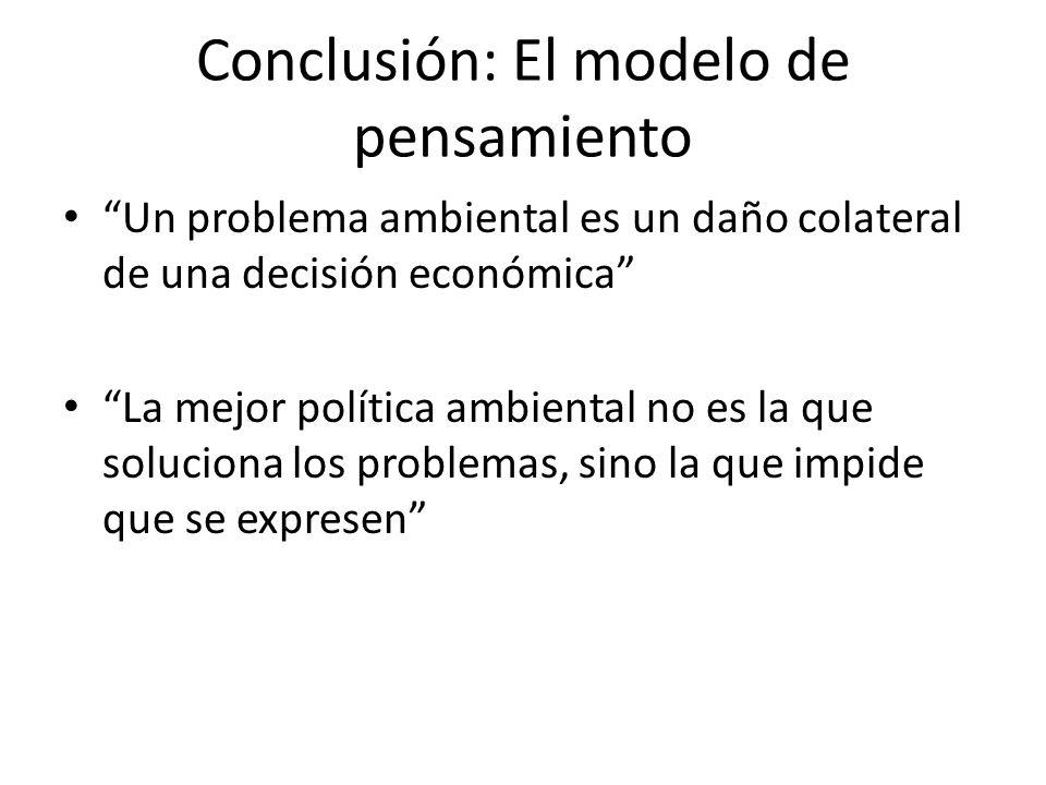Conclusión: El modelo de pensamiento Un problema ambiental es un daño colateral de una decisión económica La mejor política ambiental no es la que soluciona los problemas, sino la que impide que se expresen