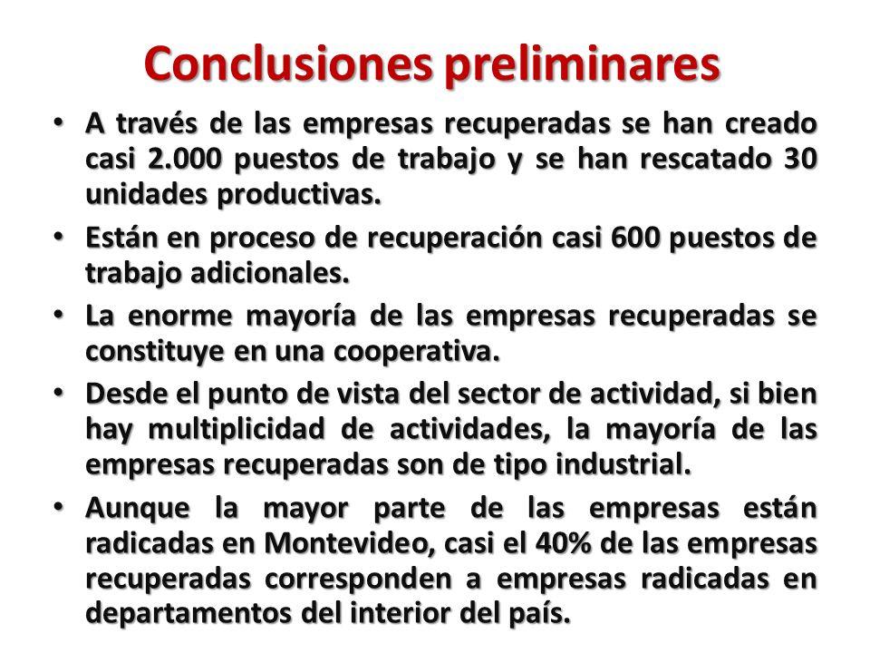 Conclusiones preliminares A través de las empresas recuperadas se han creado casi 2.000 puestos de trabajo y se han rescatado 30 unidades productivas.
