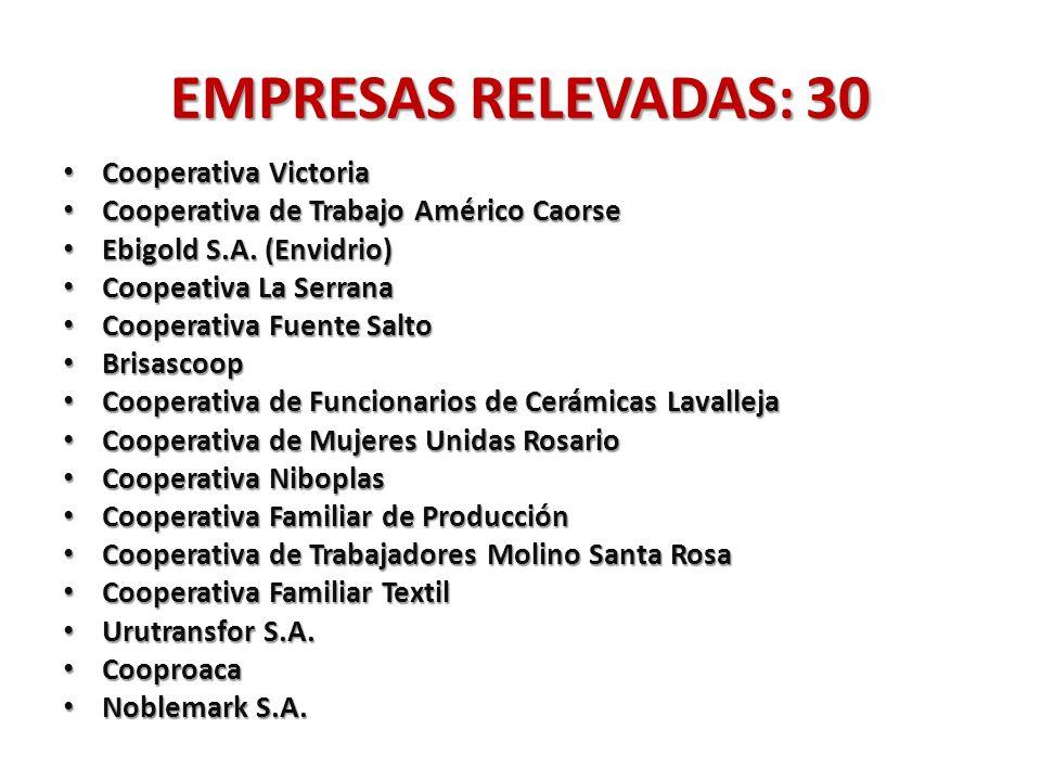 EMPRESAS RELEVADAS: 30 Cooperativa Victoria Cooperativa Victoria Cooperativa de Trabajo Américo Caorse Cooperativa de Trabajo Américo Caorse Ebigold S