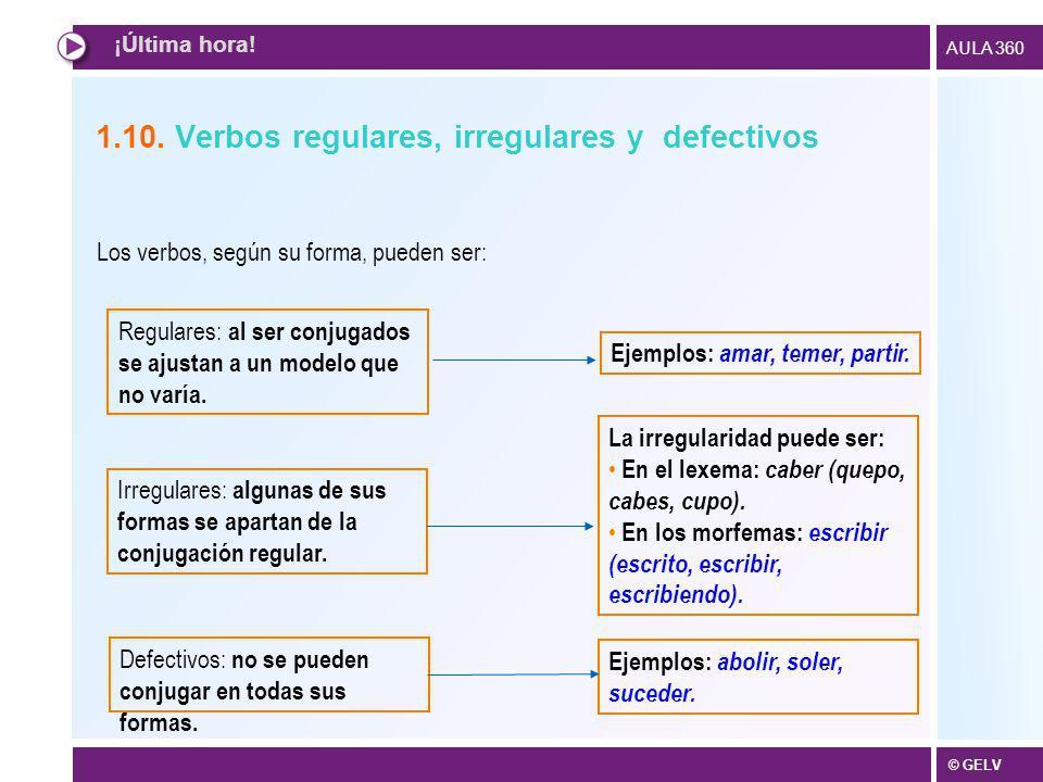 © GELV AULA 360 1.10. Verbos regulares, irregulares y defectivos Irregulares: algunas de sus formas se apartan de la conjugación regular. Defectivos: