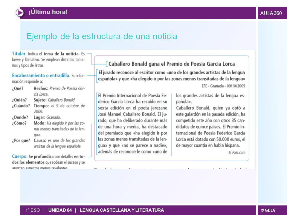 © GELV AULA 360 ¡Última hora! 1º ESO | UNIDAD 04 | LENGUA CASTELLANA Y LITERATURA Ejemplo de la estructura de una noticia