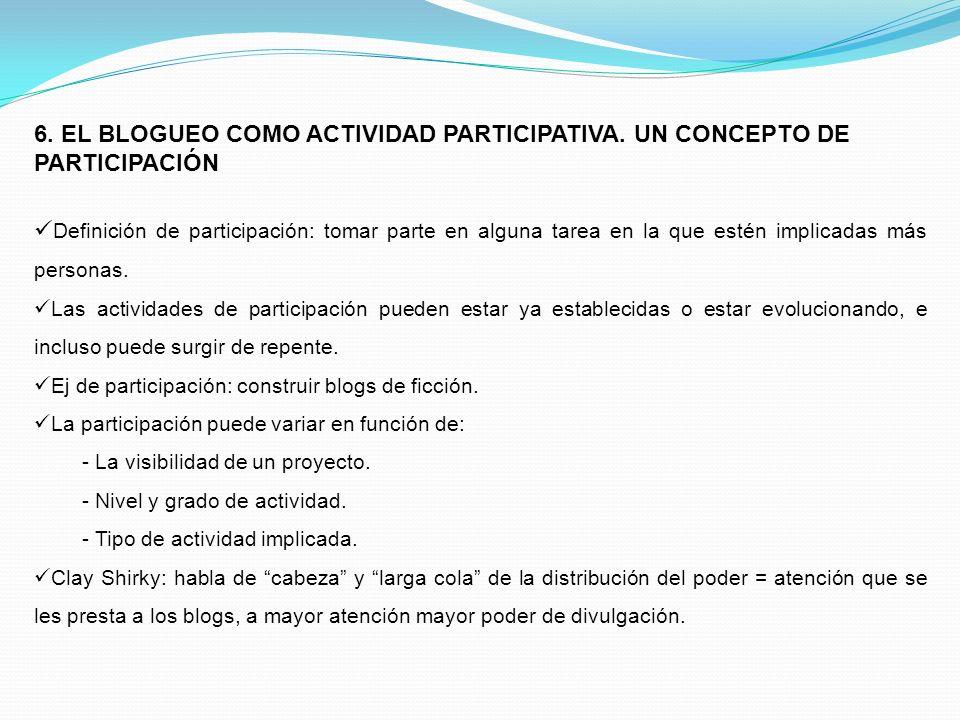 6. EL BLOGUEO COMO ACTIVIDAD PARTICIPATIVA. UN CONCEPTO DE PARTICIPACIÓN Definición de participación: tomar parte en alguna tarea en la que estén impl