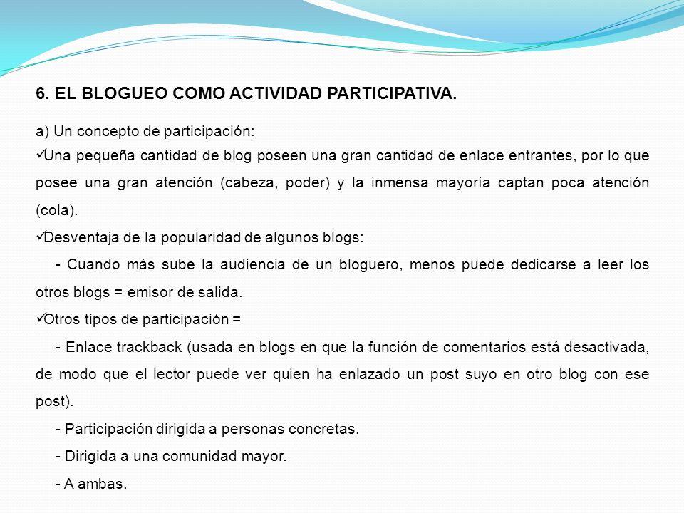 6. EL BLOGUEO COMO ACTIVIDAD PARTICIPATIVA. a) Un concepto de participación: Una pequeña cantidad de blog poseen una gran cantidad de enlace entrantes