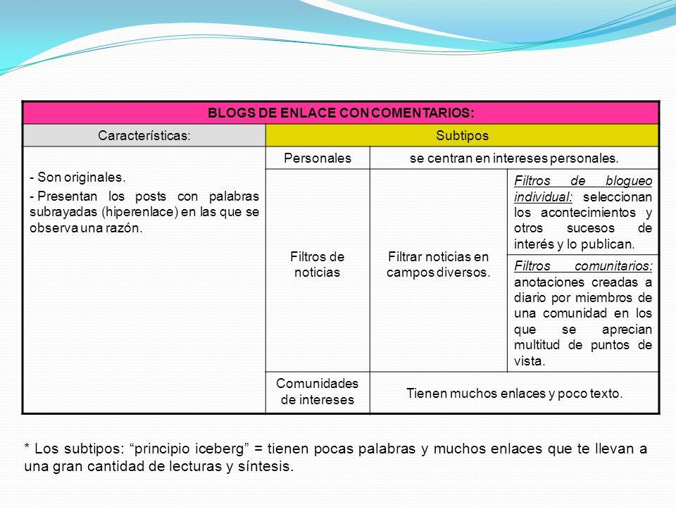 BLOGS DE ENLACE CON COMENTARIOS: Características:Subtipos - Son originales. - Presentan los posts con palabras subrayadas (hiperenlace) en las que se