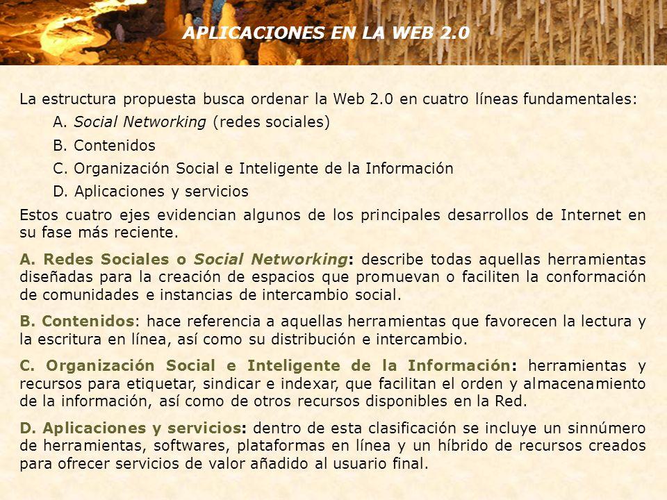 La estructura propuesta busca ordenar la Web 2.0 en cuatro líneas fundamentales: A. Social Networking (redes sociales) B. Contenidos C. Organización S