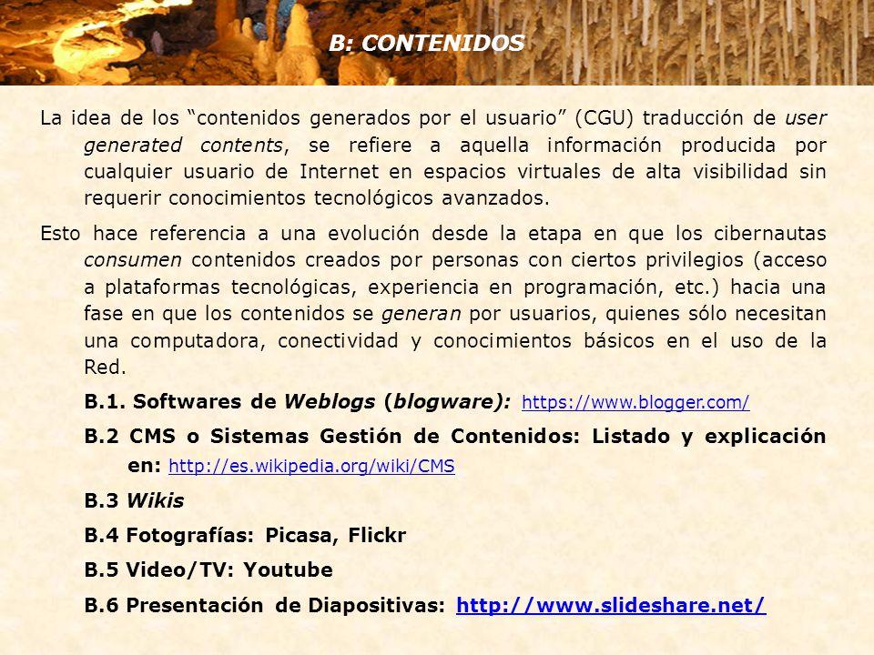 La idea de los contenidos generados por el usuario (CGU) traducción de user generated contents, se refiere a aquella información producida por cualquier usuario de Internet en espacios virtuales de alta visibilidad sin requerir conocimientos tecnológicos avanzados.