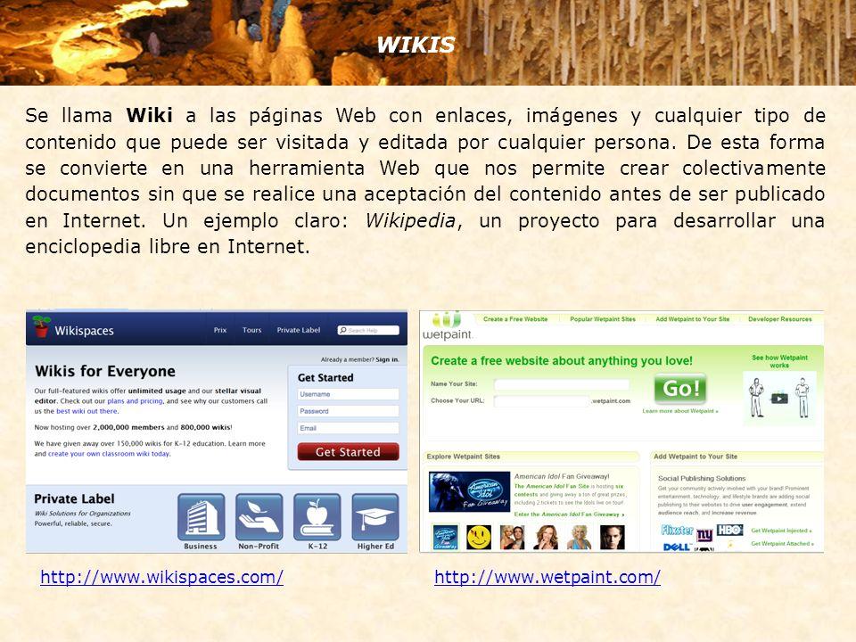 Se llama Wiki a las páginas Web con enlaces, imágenes y cualquier tipo de contenido que puede ser visitada y editada por cualquier persona. De esta fo