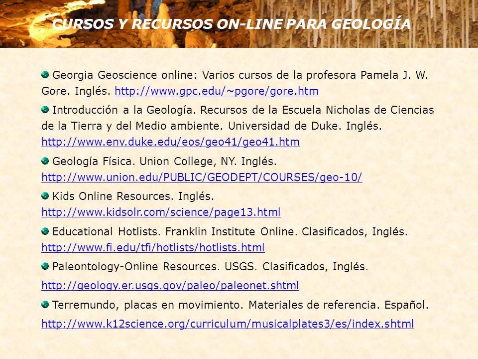 Georgia Geoscience online: Varios cursos de la profesora Pamela J. W. Gore. Inglés. http://www.gpc.edu/~pgore/gore.htmhttp://www.gpc.edu/~pgore/gore.h