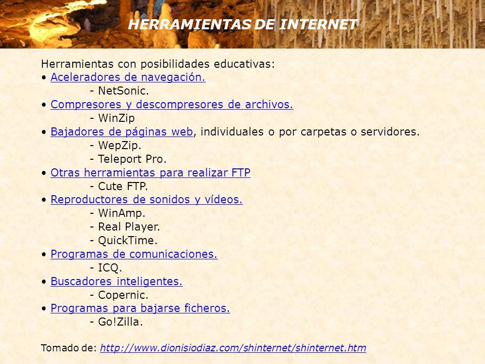 HERRAMIENTAS DE INTERNET Herramientas con posibilidades educativas: Aceleradores de navegación. - NetSonic. Compresores y descompresores de archivos.