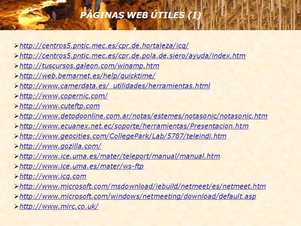 PÁGINAS WEB ÚTILES (II) http://www.mp3hispania.com/manuales/manver.php?manID=3&inicio=0 http://www.netsonic.com/netsonic/dnl/download.asp http://www.pntic.mec.es/ayudas/winzip/winzip.html http://www.quicktime.com http://www.real.com/products/player/ http://www.redestb.es/mirc/ http://www.softdownload.com.ar/cutetut.htm http://www.softonic.com/ http://www.spidersoft.com/ http://www.tectimes.com/cda/temas.asp?tiponota=10&codproducto=1739 http://www.tenmax.com/teleport/pro/download.htm http://www.tiflolibros.com.ar/Software/Spanish.lng http://www.web3000.com/sku/gp/ http://www.winamp.com/ http://www.winamp.es.org/ http://www.winzip.com