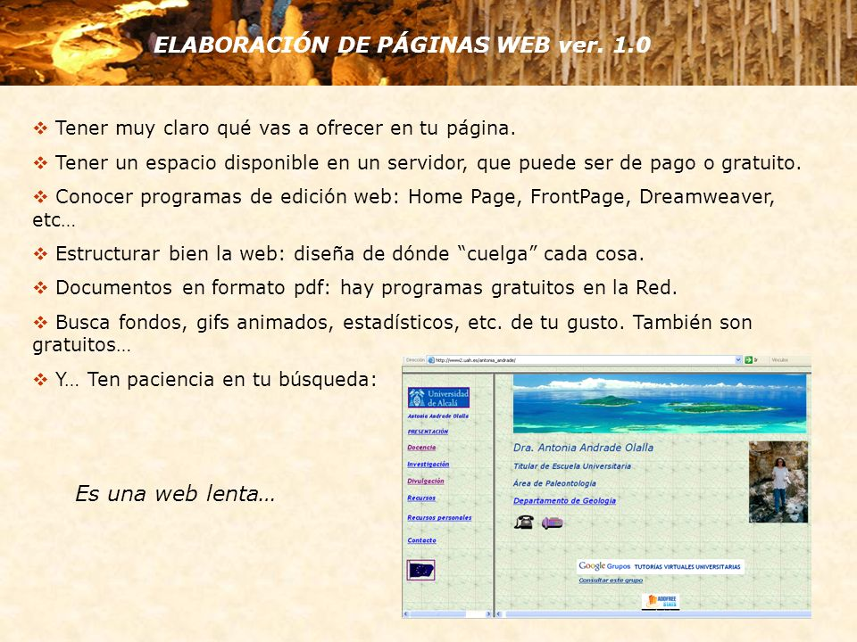 ELABORACIÓN DE PÁGINAS WEB ver. 1.0 Tener muy claro qué vas a ofrecer en tu página. Tener un espacio disponible en un servidor, que puede ser de pago