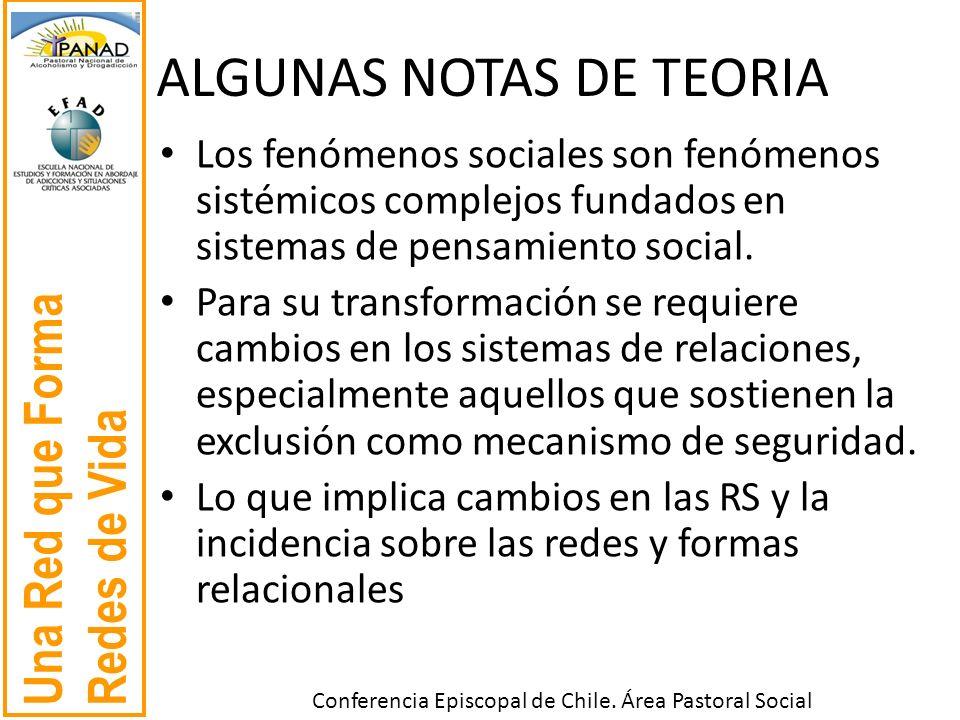 Una Red que Forma Redes de Vida Conferencia Episcopal de Chile. Área Pastoral Social ALGUNAS NOTAS DE TEORIA Los fenómenos sociales son fenómenos sist