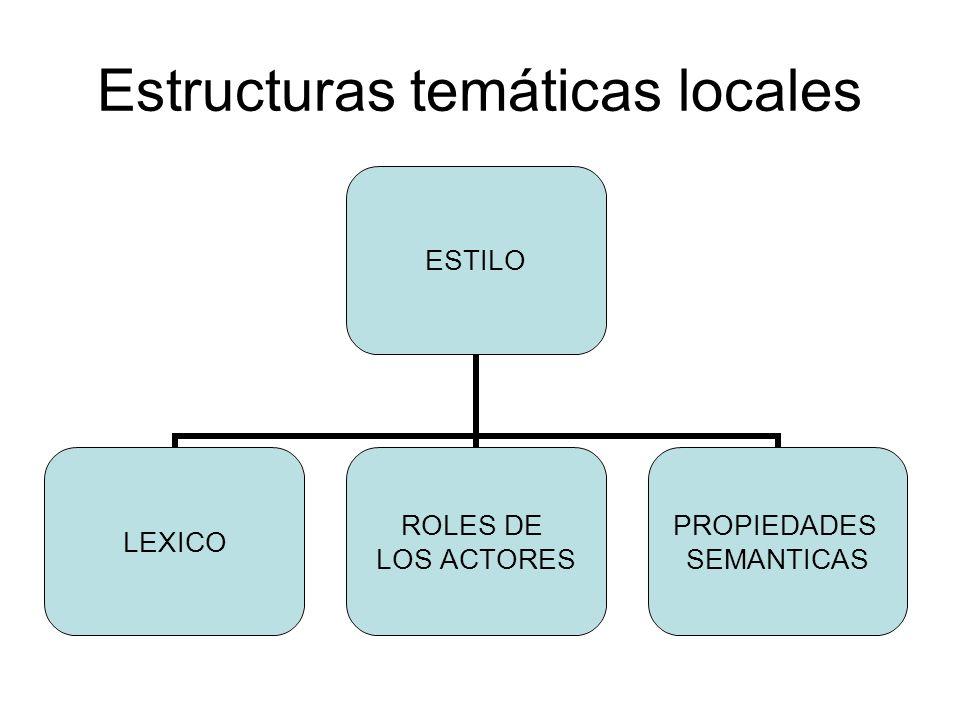 Estructuras temáticas locales ESTILO LEXICO ROLES DE LOS ACTORES PROPIEDADES SEMANTICAS