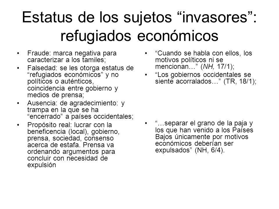 Estatus de los sujetos invasores: refugiados económicos Fraude: marca negativa para caracterizar a los tamiles; Falsedad: se les otorga estatus de ref