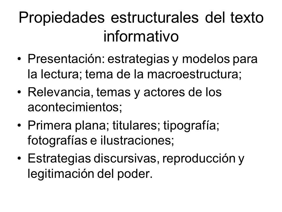 Propiedades estructurales del texto informativo Presentación: estrategias y modelos para la lectura; tema de la macroestructura; Relevancia, temas y a