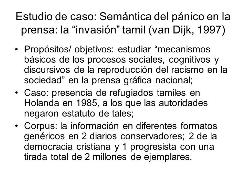 Estudio de caso: Semántica del pánico en la prensa: la invasión tamil (van Dijk, 1997) Propósitos/ objetivos: estudiar mecanismos básicos de los proce