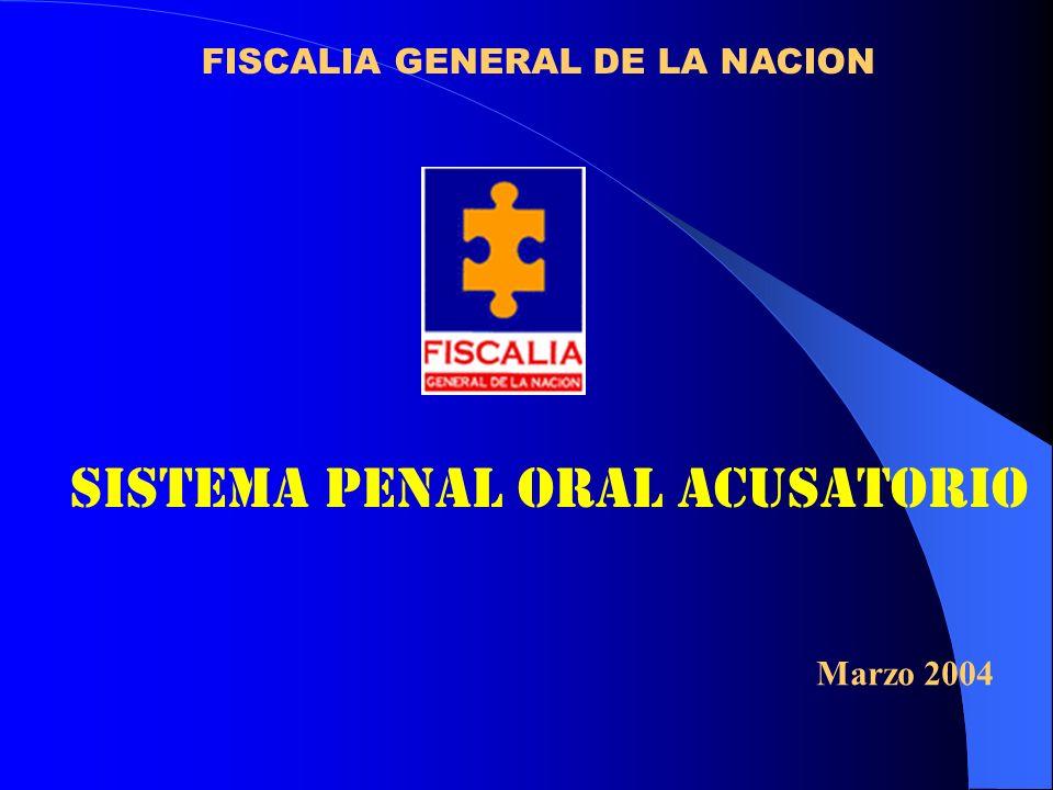 FISCALIA GENERAL DE LA NACION SISTEMA PENAL ORAL ACUSATORIO Marzo 2004