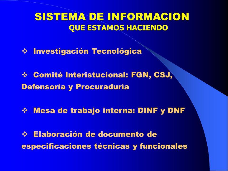SISTEMA DE INFORMACION QUE ESTAMOS HACIENDO Investigación Tecnológica Comité Interistucional: FGN, CSJ, Defensoría y Procuraduría Mesa de trabajo inte