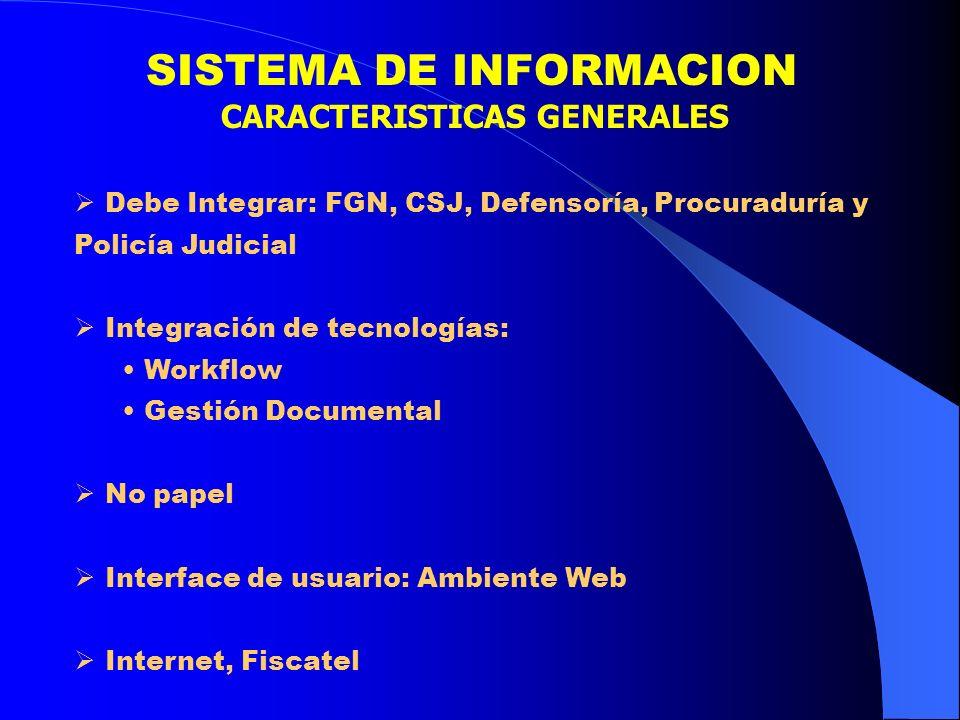 SISTEMA DE INFORMACION CARACTERISTICAS GENERALES Debe Integrar: FGN, CSJ, Defensoría, Procuraduría y Policía Judicial Integración de tecnologías: Work