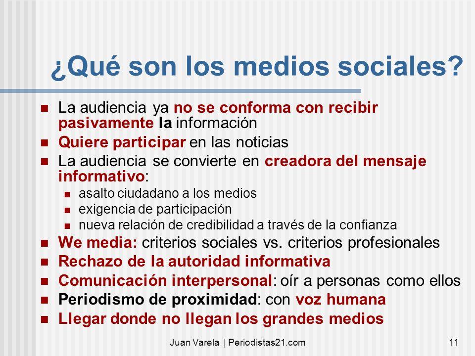 Juan Varela | Periodistas21.com11 ¿Qué son los medios sociales? La audiencia ya no se conforma con recibir pasivamente la información Quiere participa