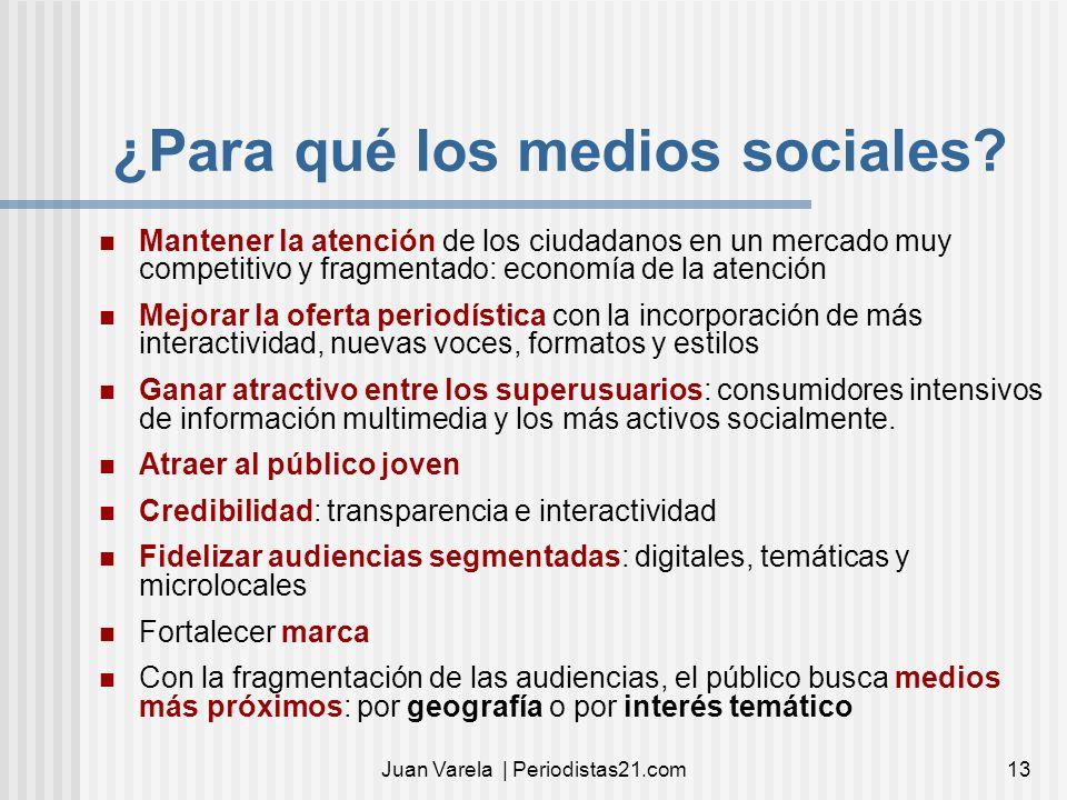 Juan Varela | Periodistas21.com13 ¿Para qué los medios sociales? Mantener la atención de los ciudadanos en un mercado muy competitivo y fragmentado: e
