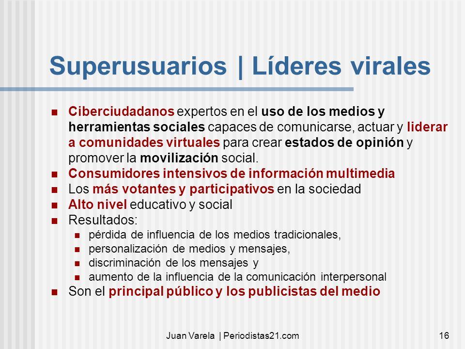 Juan Varela | Periodistas21.com16 Superusuarios | Líderes virales Ciberciudadanos expertos en el uso de los medios y herramientas sociales capaces de