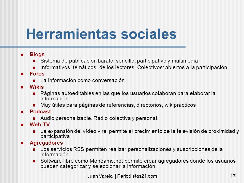 Juan Varela | Periodistas21.com17 Herramientas sociales Blogs Sistema de publicación barato, sencillo, participativo y multimedia Informativos, temáti