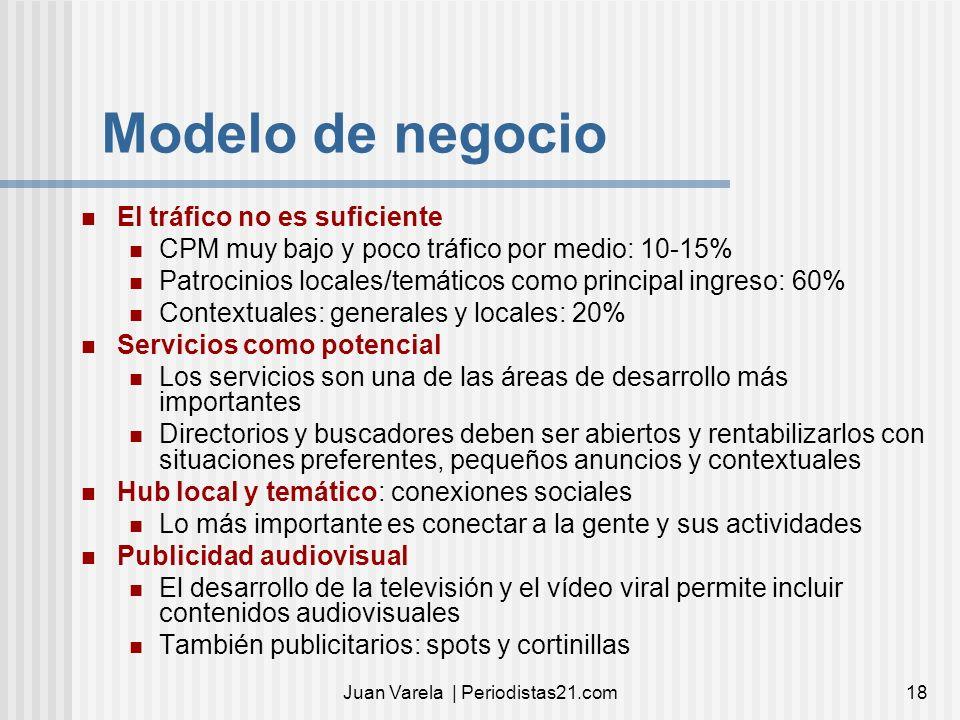 Juan Varela | Periodistas21.com18 Modelo de negocio El tráfico no es suficiente CPM muy bajo y poco tráfico por medio: 10-15% Patrocinios locales/temá