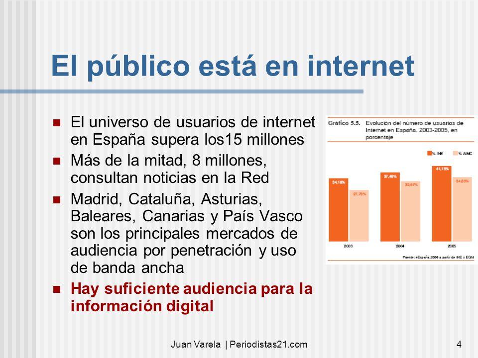 Juan Varela | Periodistas21.com4 El público está en internet El universo de usuarios de internet en España supera los15 millones Más de la mitad, 8 mi