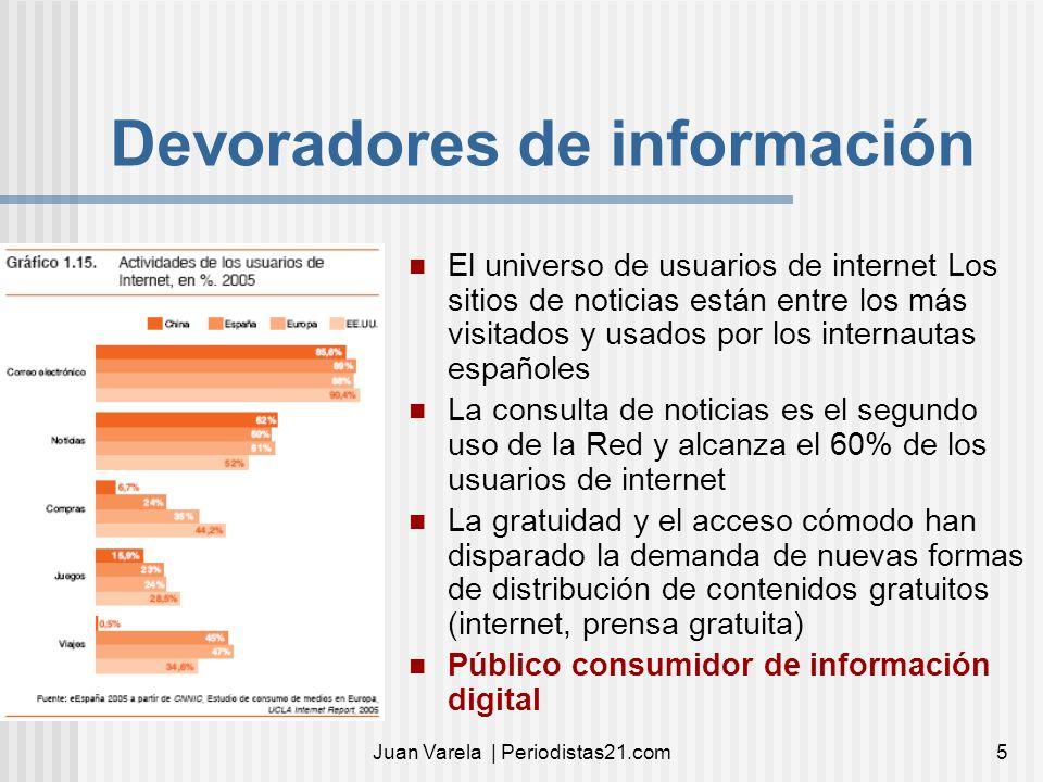 Juan Varela | Periodistas21.com5 Devoradores de información El universo de usuarios de internet Los sitios de noticias están entre los más visitados y