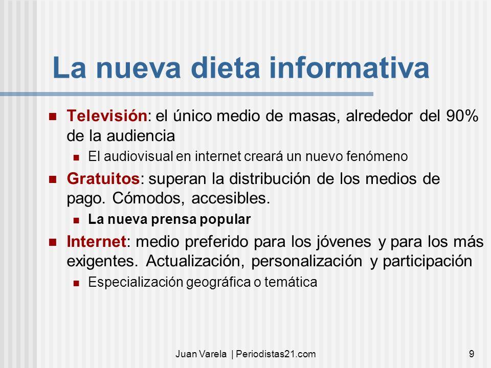 Juan Varela | Periodistas21.com9 La nueva dieta informativa Televisión: el único medio de masas, alrededor del 90% de la audiencia El audiovisual en i