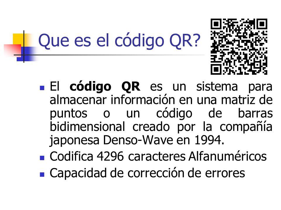 Que es el código QR? El código QR es un sistema para almacenar información en una matriz de puntos o un código de barras bidimensional creado por la c