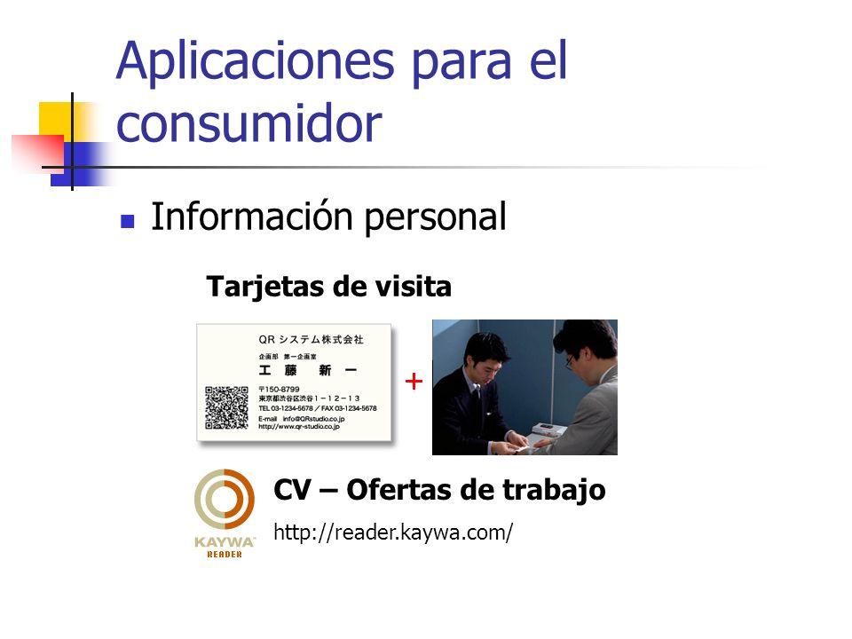 Aplicaciones para el consumidor Información personal http://reader.kaywa.com/ CV – Ofertas de trabajo Tarjetas de visita