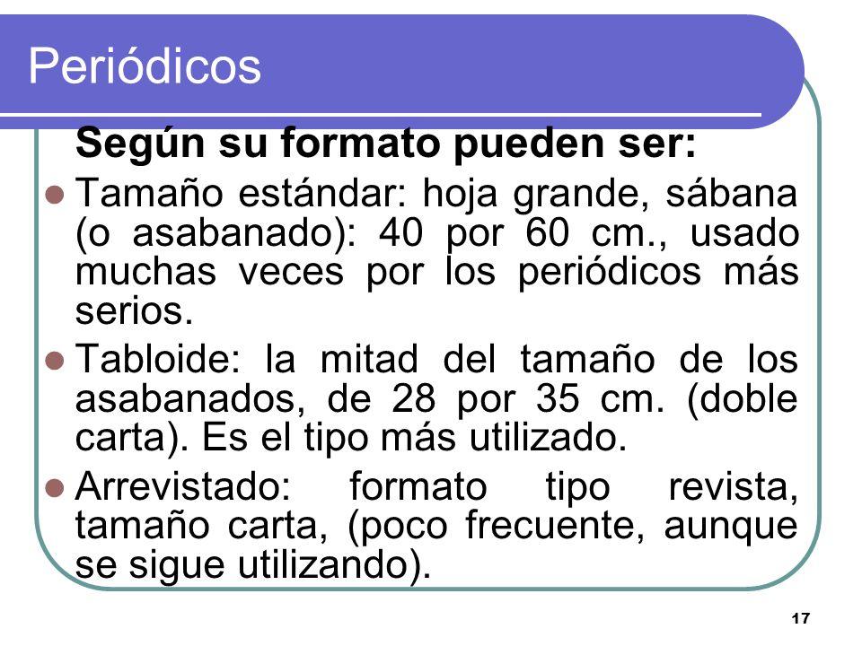 17 Periódicos Según su formato pueden ser: Tamaño estándar: hoja grande, sábana (o asabanado): 40 por 60 cm., usado muchas veces por los periódicos má