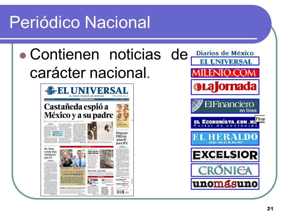 21 Periódico Nacional Contienen noticias de carácter nacional.