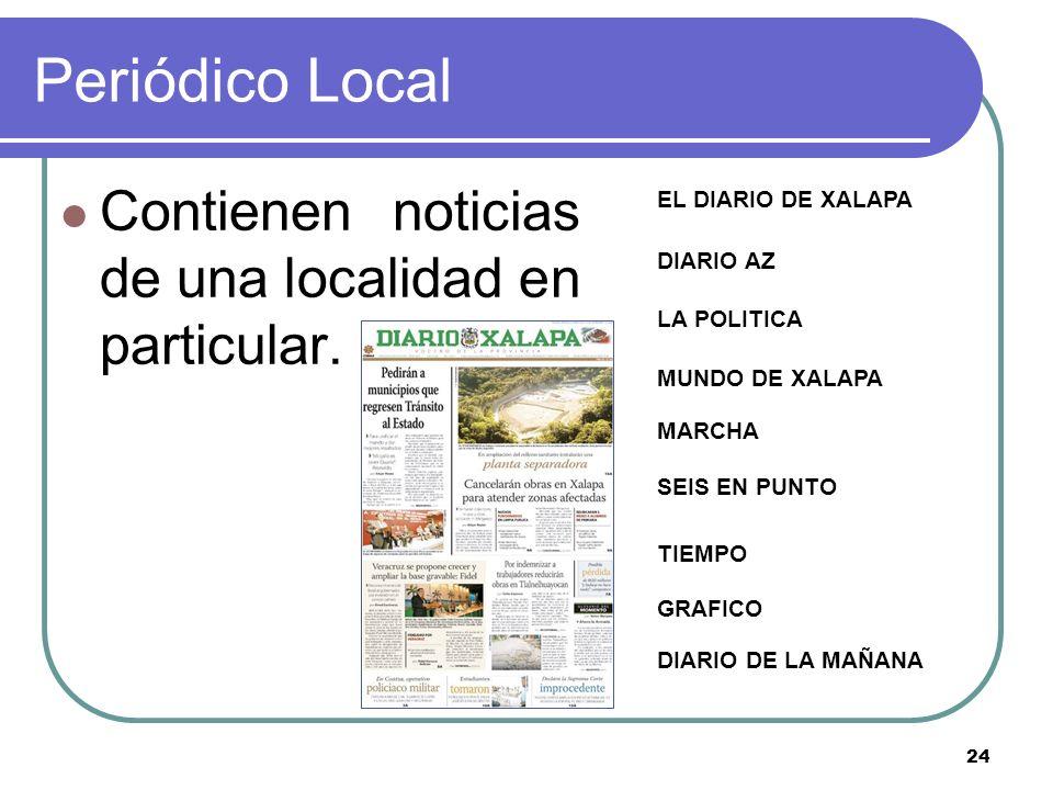 24 Periódico Local Contienen noticias de una localidad en particular. DIARIO DE LA MAÑANA GRAFICO TIEMPO SEIS EN PUNTO MARCHA MUNDO DE XALAPA LA POLIT